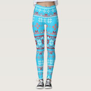 f870b1a139222a Snowflake Fair Isle Red and Light Blue Leggings