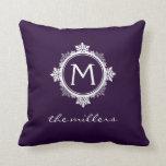 Snowflake Family Monogram in Dark Purple & White Throw Pillows