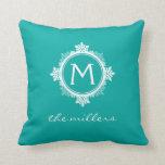 Snowflake Family Monogram in Teal Blue & White Throw Pillows