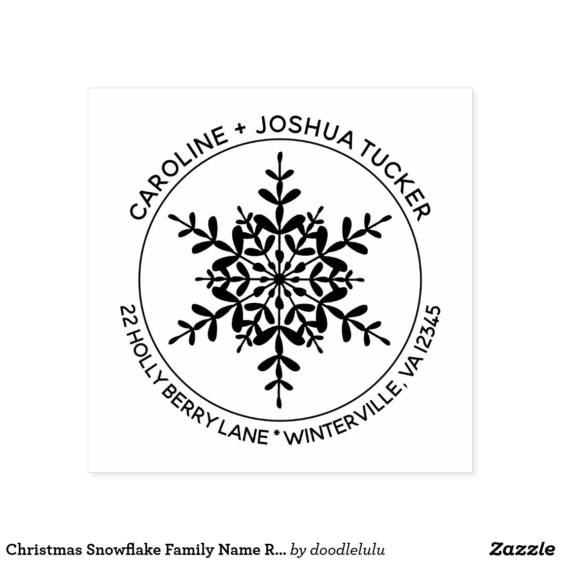 Snowflake Family Name Christmas Return Address Self-inking Stamp