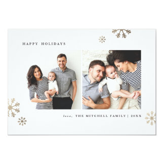 """Snowflake faux foil 5x7"""" flat holiday card"""