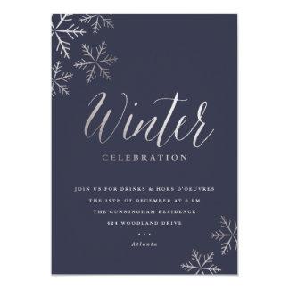 Snowflake faux foil winter party invitation