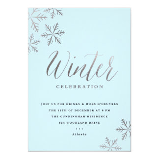 Snowflake faux foil winter party invitation