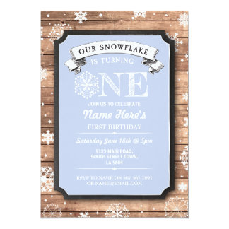 Snowflake First Birthday Blue Wood Winter Invite