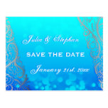 Snowflake Flourishes & Bokeh Winter Save the Date Postcards