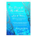 Snowflake Flourishes & Bokeh Winter Wedding Invite