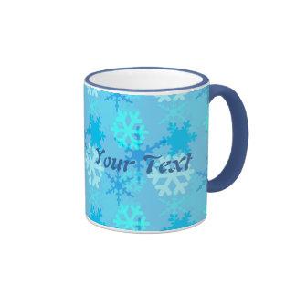 Snowflake Flurry Customizable Ringer Coffee Mug