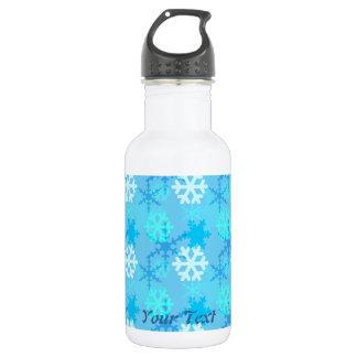 Snowflake Flurry Customizable 18oz Water Bottle