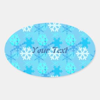 Snowflake Flurry Customizable Oval Sticker