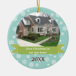Snowflake flurry green banner teal custom photo ceramic ornament