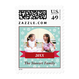 Snowflake flurry red banner custom photo holiday postage