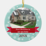Snowflake Flurry Red Banner Teal Custom Photo Ceramic Ornament at Zazzle