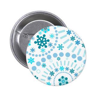 Snowflake Flurry White Pinback Button