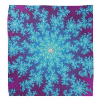 Snowflake Fractal Aqua Blue Bandana