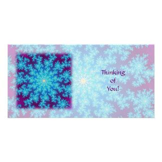 Snowflake Fractal: Aqua Blue Card