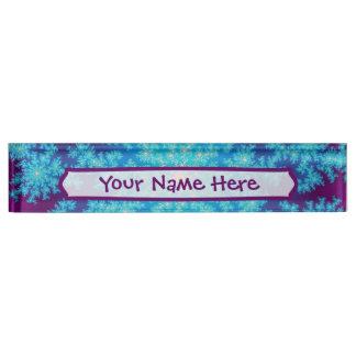 Snowflake Fractal Aqua Blue Desk Name Plate