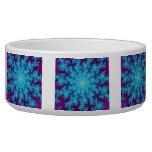 Snowflake Fractal: Aqua Blue Dog Water Bowls