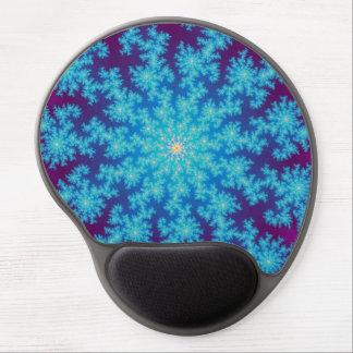 Snowflake Fractal Aqua Blue Gel Mouse Pad