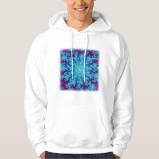 Snowflake Fractal: Aqua Blue Hooded Sweatshirt