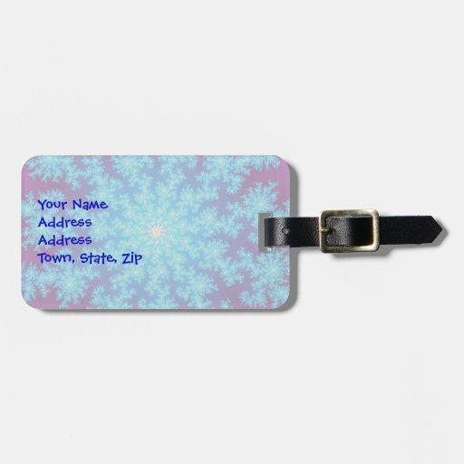 Snowflake Fractal: Aqua Blue Luggage Tag