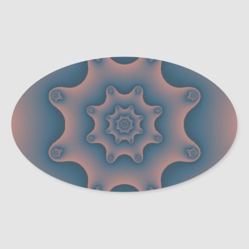 snowflake fractal oval sticker