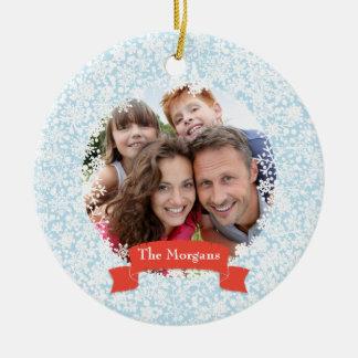 Snowflake Frame Holiday Family Photo Ornament