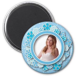 Snowflake frame refrigerator magnets