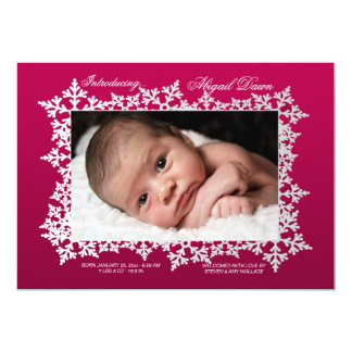 Snowflake Frame Photo Birth Announcement