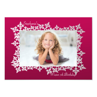 Snowflake Frame Photo Invitation