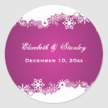 Snowflake fuchsia winter wedding Save the Date Classic Round Sticker