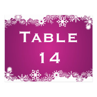 Snowflake fuchsia winter wedding table number postcard