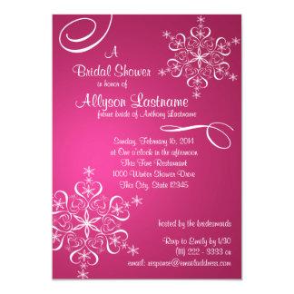"Snowflake Fuschia Bridal Shower 5"" X 7"" Invitation Card"