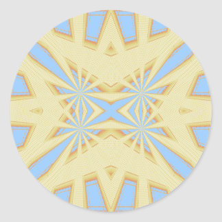 Snowflake - Geometric Abstract - Yellow and Blue Round Stickers