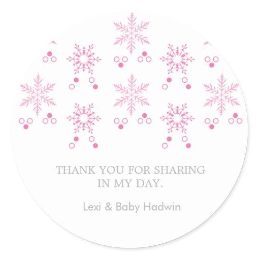Snowflake   Girl Baby Shower Favor Sticker