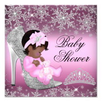 Snowflake Glitter Shoe Pink Baby Shower Invite