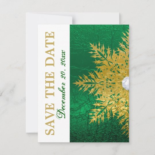 Snowflake Gold Emerald Green Wedding Save The Date