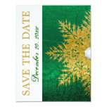 Snowflake gold emerald green wedding Save the Date Custom Announcement