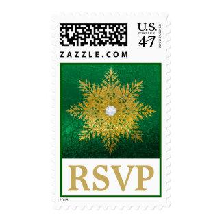 Snowflake gold, green white winter wedding RSVP Postage