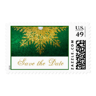 Snowflake gold, green winter wedding Save the Date Postage