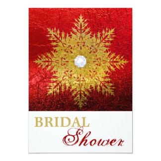 Snowflake gold red winter wedding bridal shower card