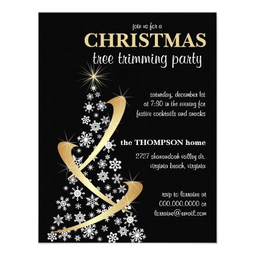 Snowflake & Gold Ribbon Christmas Tree Invite