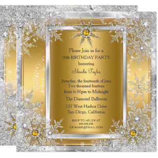 Snowflake Gold Silver Winter Wonderland Party 2 Card