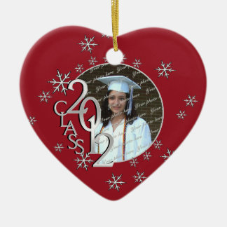 Snowflake Graduate Photo Red Christmas Ornament
