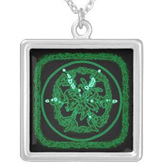 snowflake green neon square pendant necklace