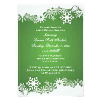 Snowflake green white winter wedding bridal shower card