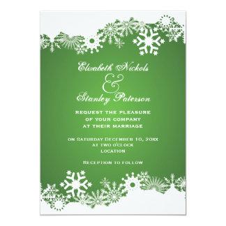 Snowflake green white winter wedding invitation