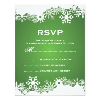 Snowflake green white winter wedding RSVP Card