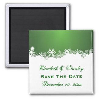 Snowflake green white winter wedding Save the Date Magnet