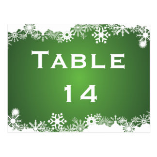 Snowflake green white winter wedding table number postcard