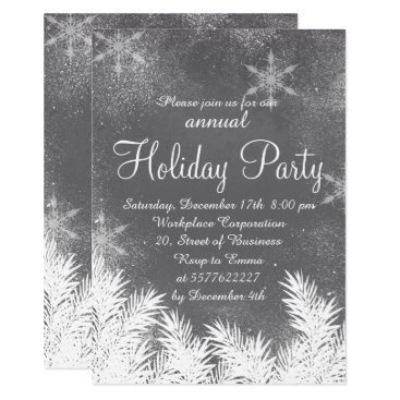 Professional Business Snowflake grey cement winter corporate holiday card